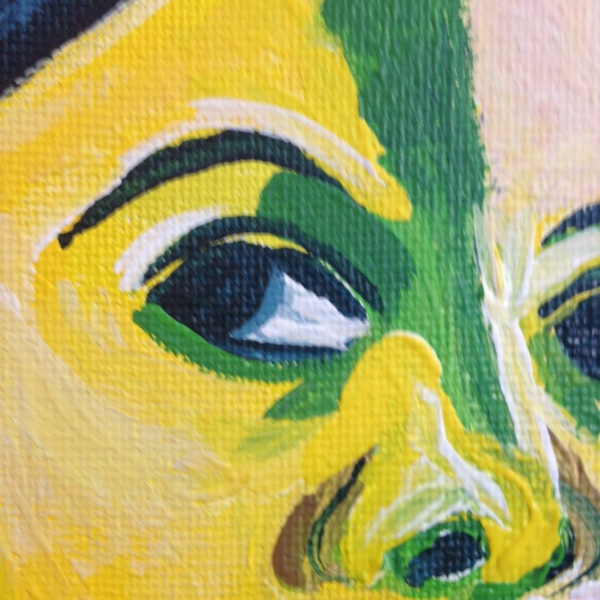 Close-Up 1 Self-Portrait (Green Stripe)- Tribute to Henri Matisse Linda Cleary 2014 Acrylic on Canvas