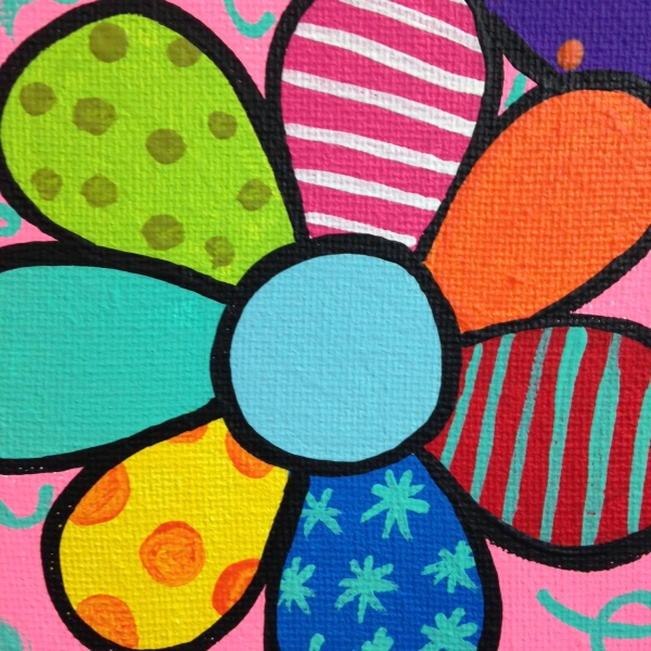 Close-Up 1 Flowers- Tribute to Romero Britto Linda Cleary 2014 Acrylic on Canvas