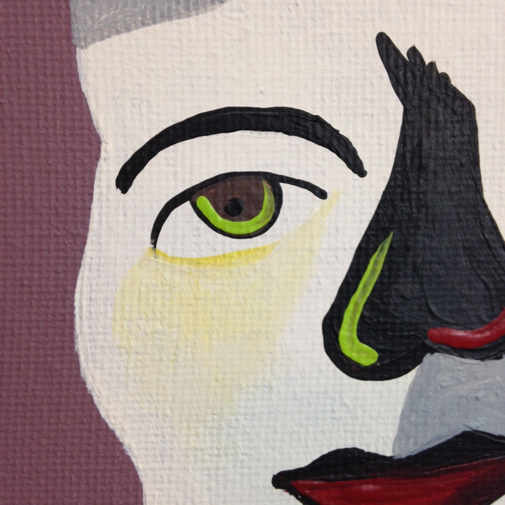 Close-Up 1 Self-Portrait- Tribute to Jim Nutt Linda Cleary 2014 Acrylic on Canvas