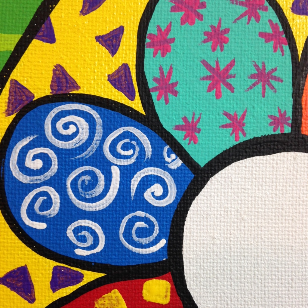 Close-Up 2 Flowers- Tribute to Romero Britto Linda Cleary 2014 Acrylic on Canvas