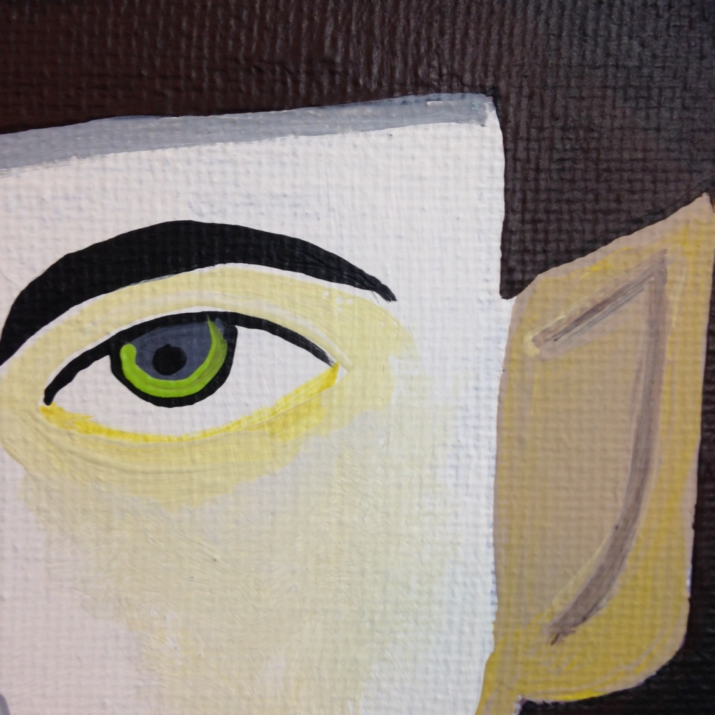 Close-Up 2 Self-Portrait- Tribute to Jim Nutt Linda Cleary 2014 Acrylic on Canvas