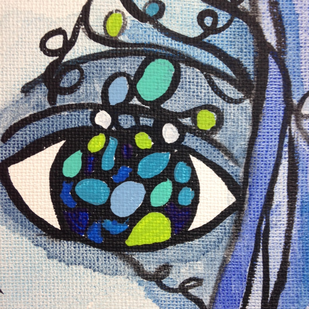 Close-Up 3 Visage d'un rêve- Tribute to Sophie Orlicki Linda Cleary 2014 Watercolor and Acrylic on Canvas