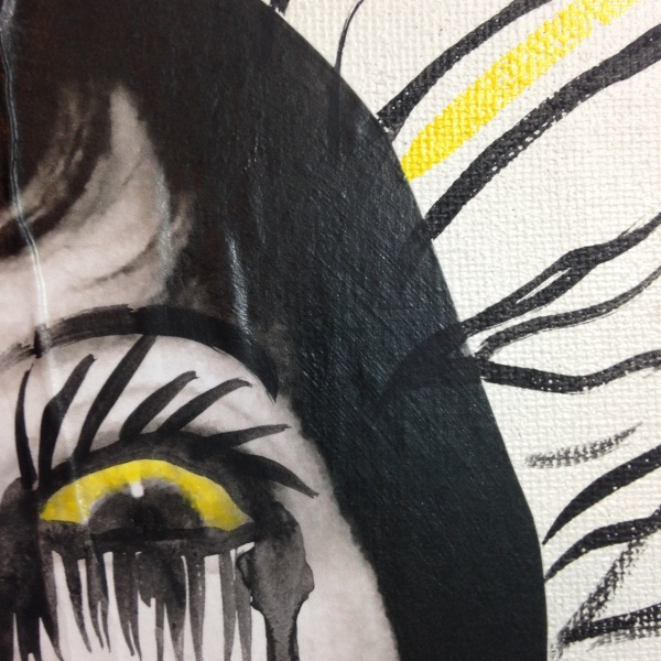 Close-Up 3 Self-Portrait- Tribute to Arnulf Rainer Linda Cleary 2014 Mixed Media on Canvas
