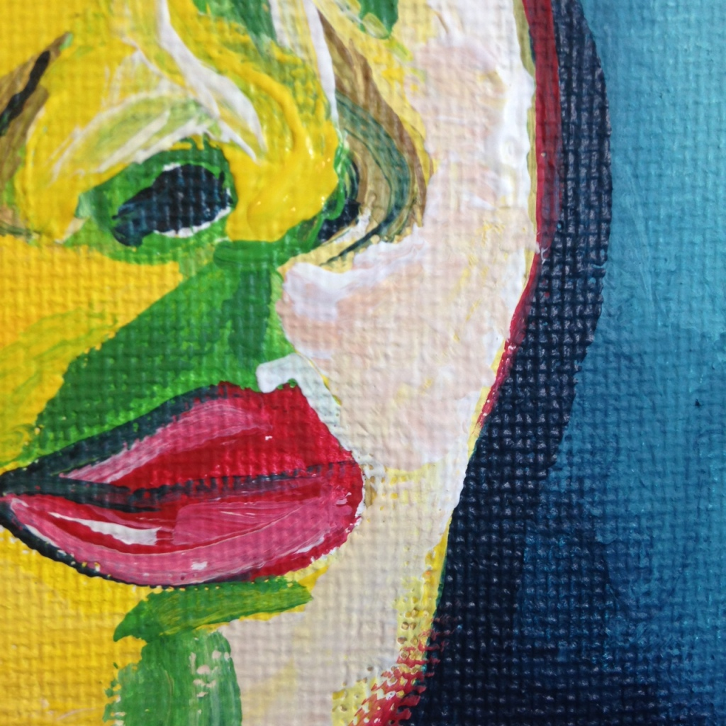 Close-Up 3 Self-Portrait (Green Stripe)- Tribute to Henri Matisse Linda Cleary 2014 Acrylic on Canvas