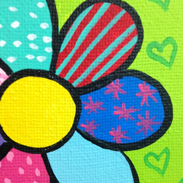 Close-Up 3 Flowers- Tribute to Romero Britto Linda Cleary 2014 Acrylic on Canvas