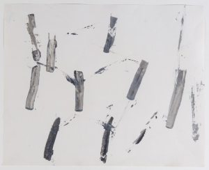 untitled (after nature: tree trunks), ca 1959 acrylic applied with palette knife on paper- Charlotte Posenenske