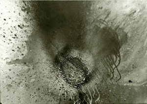 Silver Fire, acrylic and burning on linen by Otto Piene, 1973, Honolulu Museum of Art