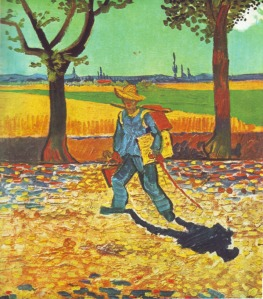 Painter on the Road to Tarascon, August 1888, Vincent van Gogh on the road to Montmajour, oil on canvas, 48 × 44 cm., formerly Museum Magdeburg, believed to have been destroyed by fire in World War II