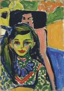 Fränzi vor geschnitztem Stuhl- Ernst Ludwig Kirchner
