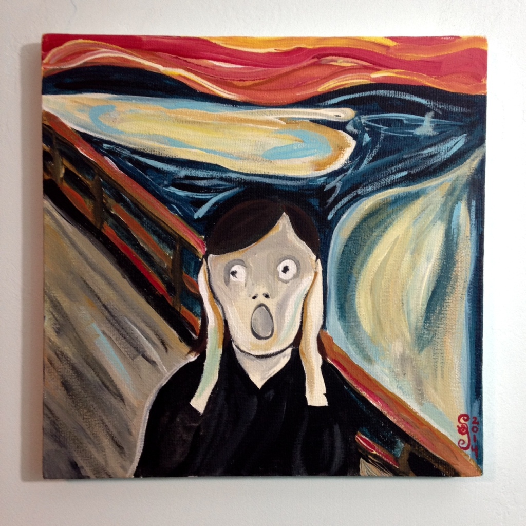 Linda Screaming- Tribute to Edvard Munch Linda Cleary 2014 Acrylic on Canvas