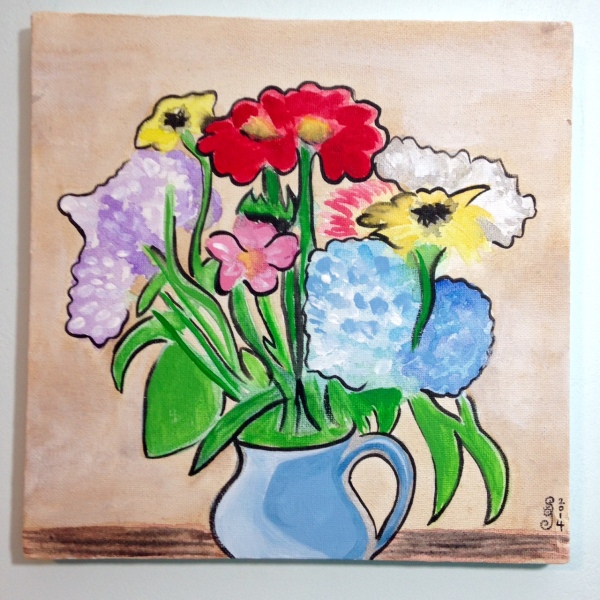 Vase of Flowers- Tribute to Raoul Dufy Linda Cleary 2014 Watercolors and Acrylics on Canvas