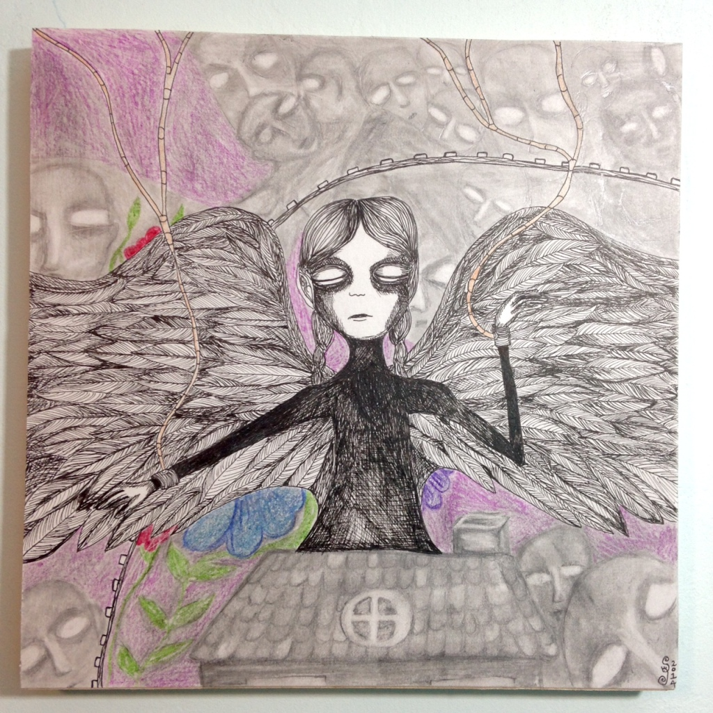 My Little World- Tribute to Ruzena (Anne Billon) Linda Cleary 2014 Mixed Media on Paper mounted on Wood Panel