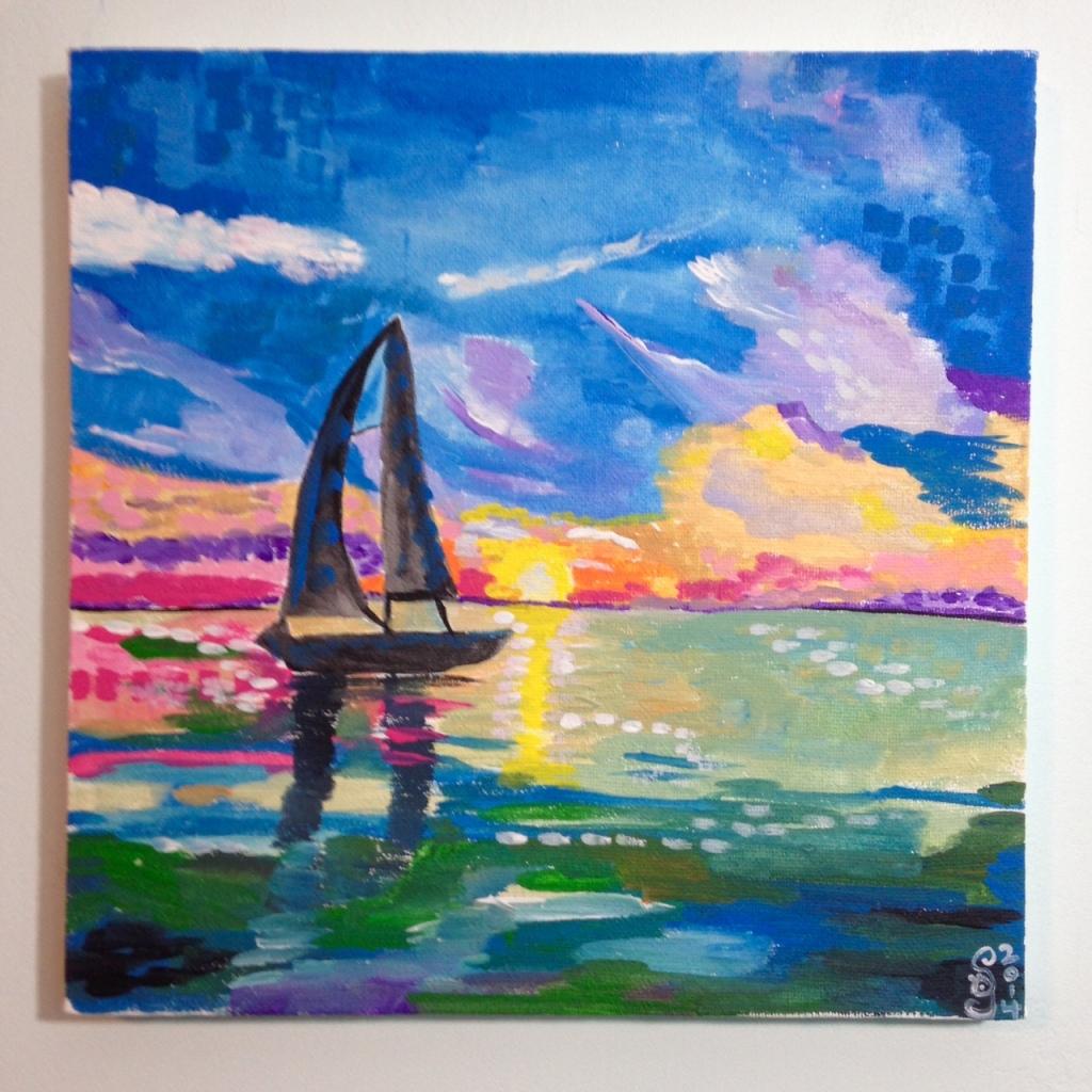 Voilier sur l'eau- Tribute to André Derain Linda Cleary 2014 Acrylic on Canvas