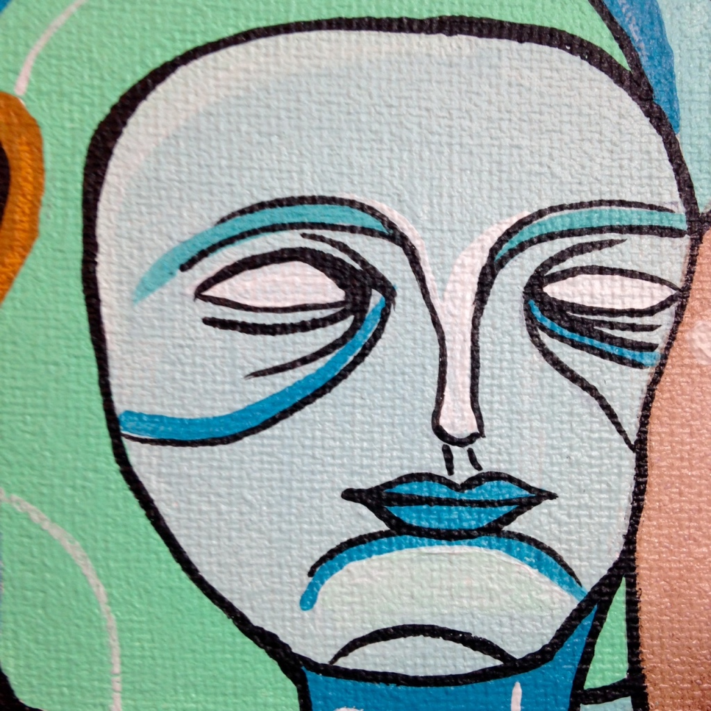 Close-Up 1 Eye Contact- Tribute to Doze Green Linda Cleary 2014 Ink & Acrylic on Canvas
