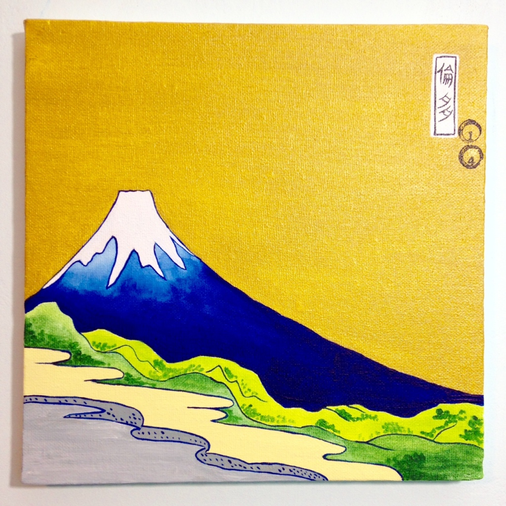 View of Mount Fuji- Tribute to Katsushika Hokusai Linda Cleary 2014 Acrylic & Metallic Paint on Canvas
