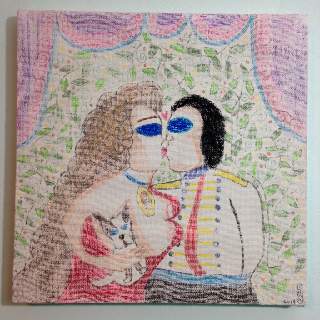 Fantasy Land- Tribute to Aloïse Corbaz Linda Cleary 2014 Colored Pencil & Pastel on Canvas