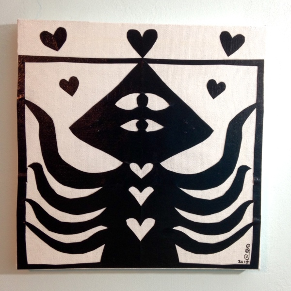 Squidman Loves Me- Tribute to Jad Fair Linda Cleary 2014 Mixed-Media on Canvas