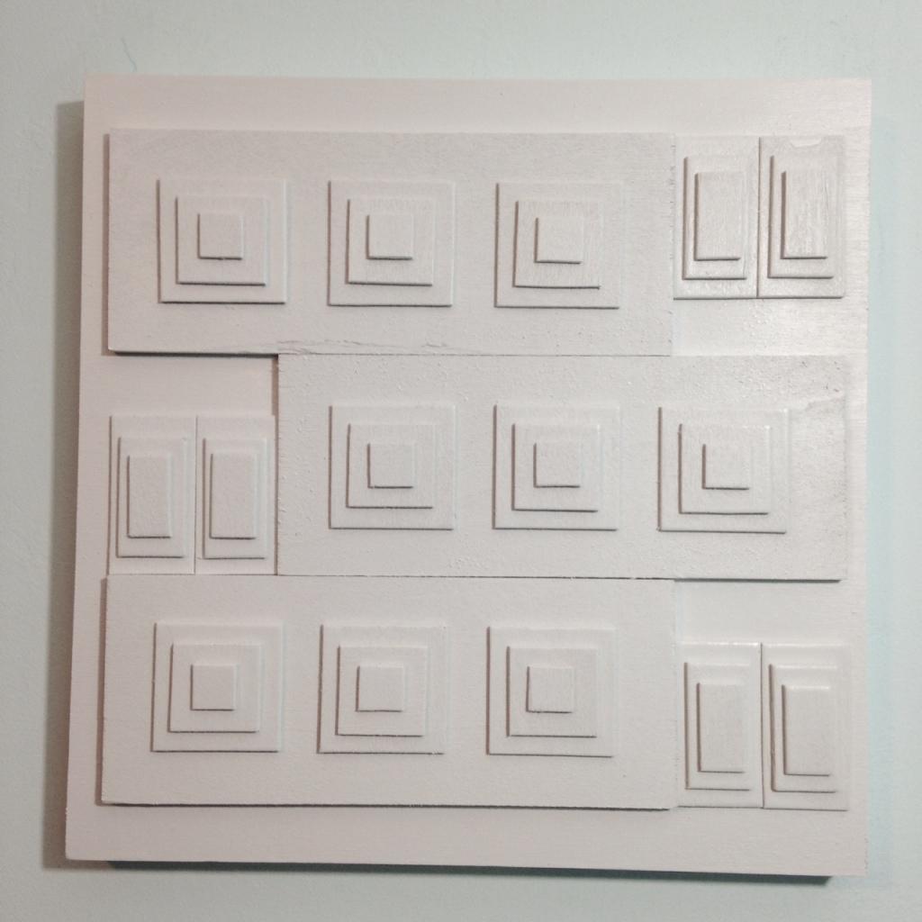Rechthoeken En Vierkanten- Tribute to Ad Dekkers Linda Cleary 2014 Mixed-Media on Wood Panel