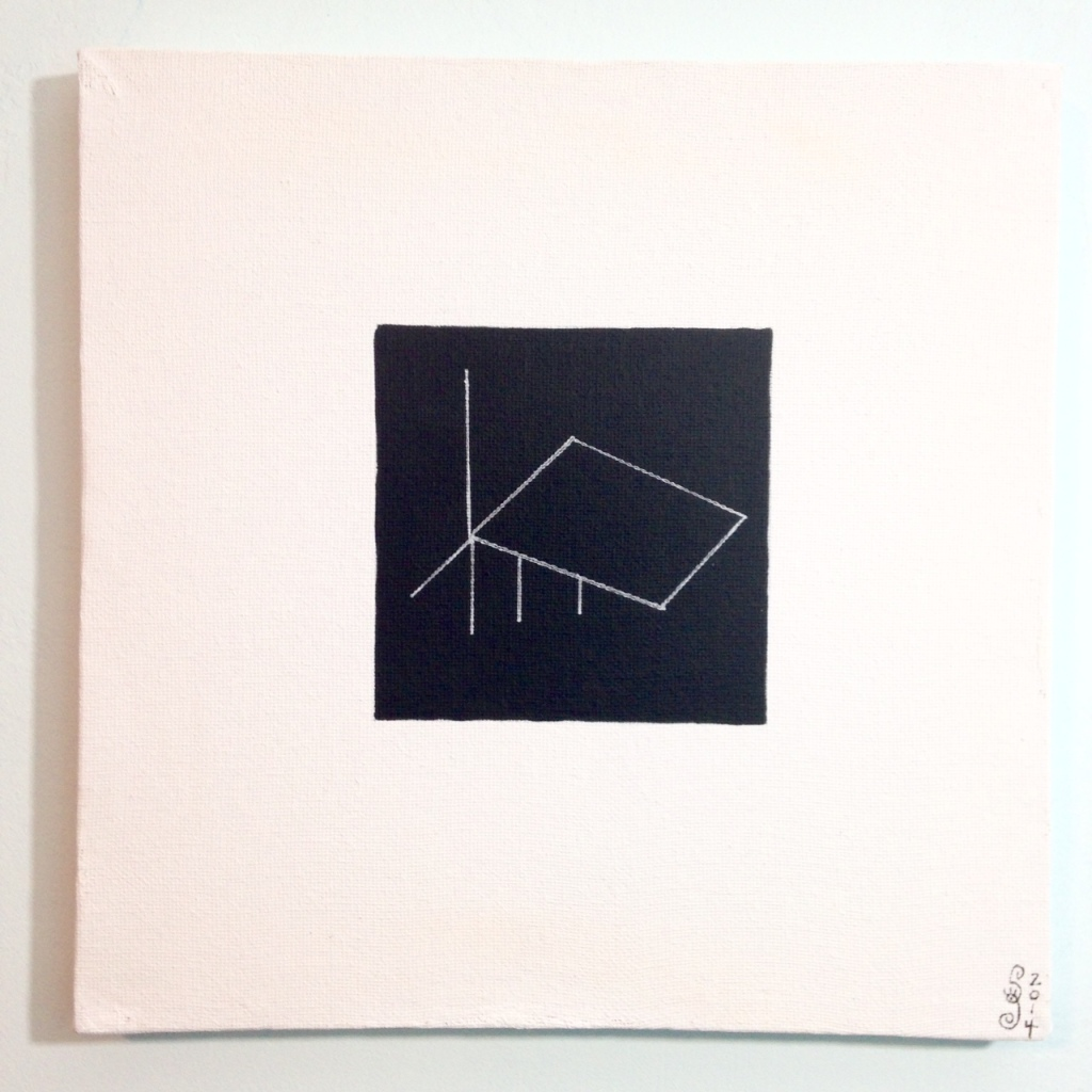 Untitled 311- Tribute to Fred Sandback Linda Cleary 2014 Acrylic & Pen on Canvas