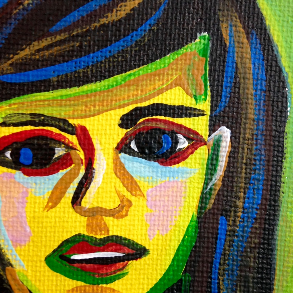 Close-Up 1 Mädchen in Einem Grünen Zimmer- Tribute to Ernst Ludwig Kirchner Acrylic on Canvas