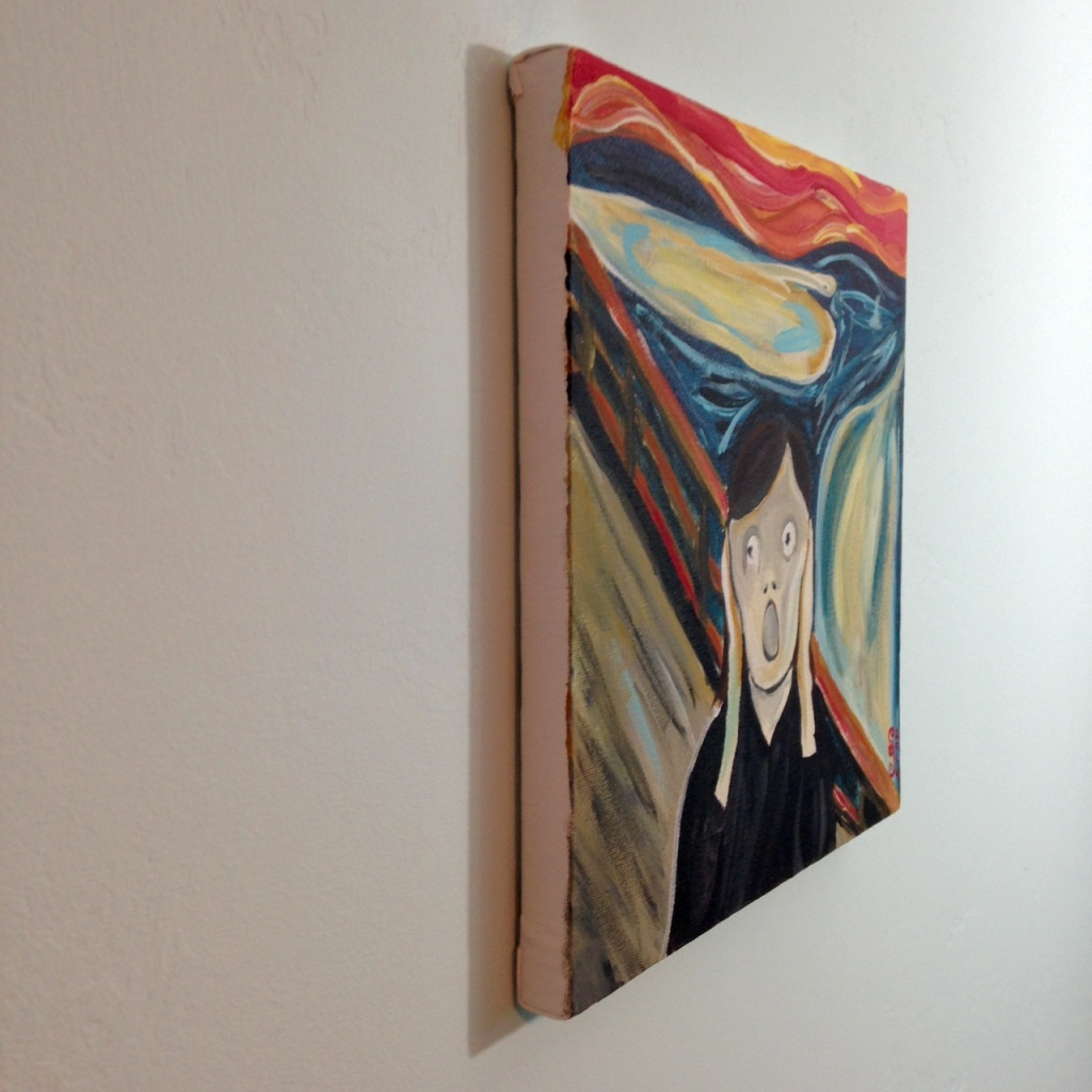 Side-View Linda Screaming- Tribute to Edvard Munch Linda Cleary 2014 Acrylic on Canvas