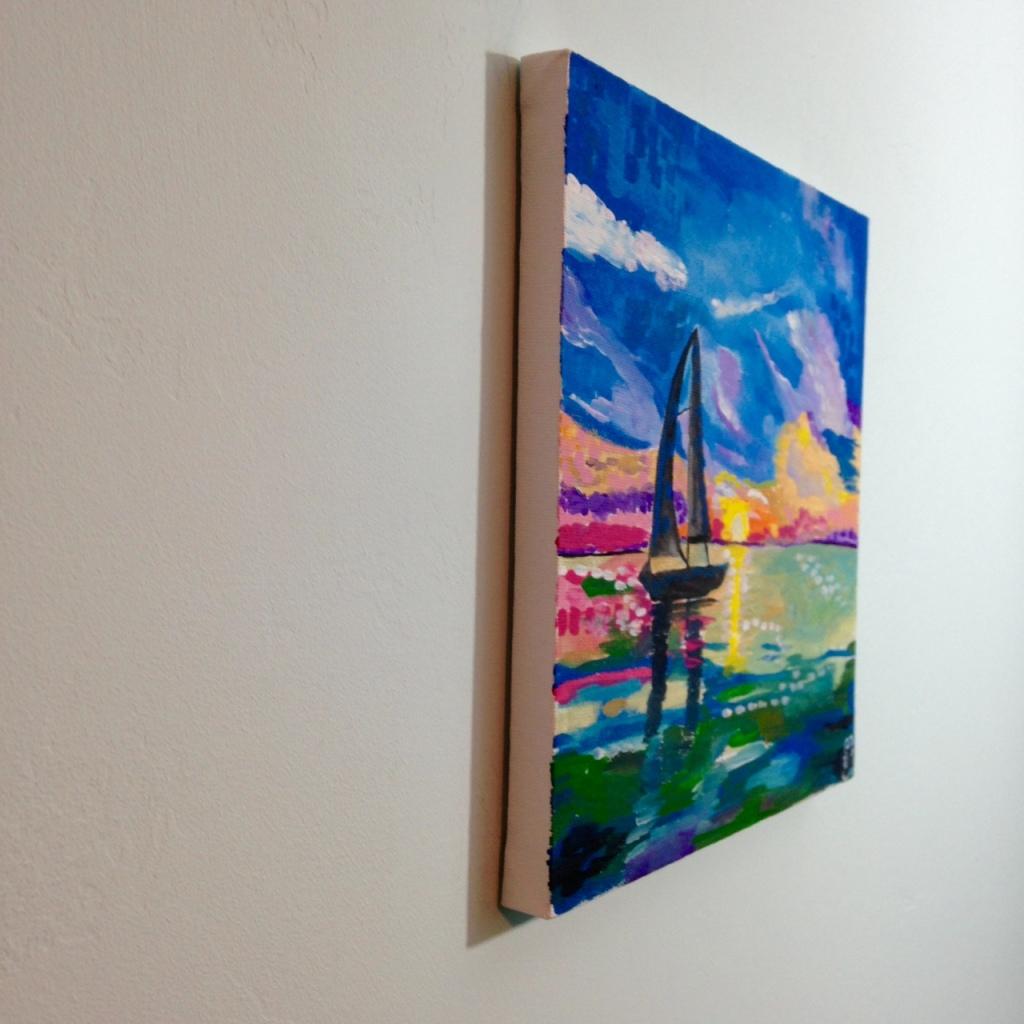 Side-View Voilier sur l'eau- Tribute to André Derain Linda Cleary 2014 Acrylic on Canvas