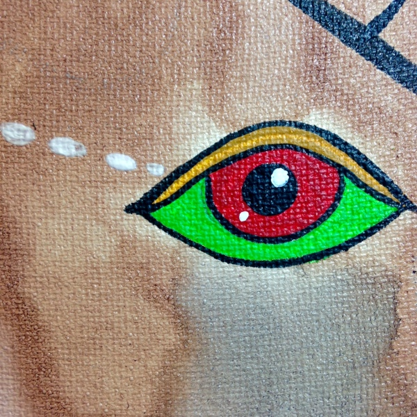 Close-Up 3 Eye Contact- Tribute to Doze Green Linda Cleary 2014 Ink & Acrylic on Canvas