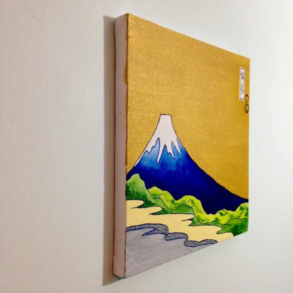 Side-View View of Mount Fuji- Tribute to Katsushika Hokusai Linda Cleary 2014 Acrylic & Metallic Paint on Canvas