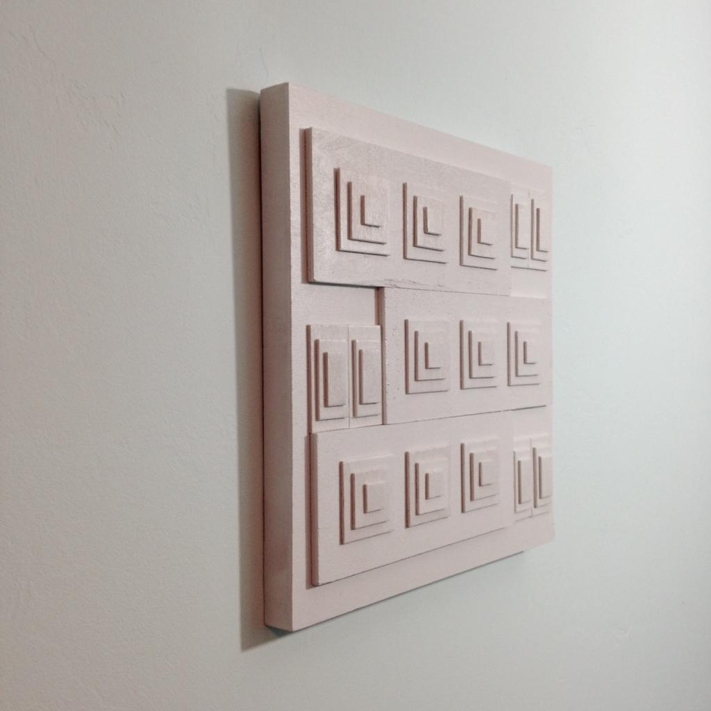 Side-View Rechthoeken En Vierkanten- Tribute to Ad Dekkers Linda Cleary 2014 Mixed-Media on Wood Panel