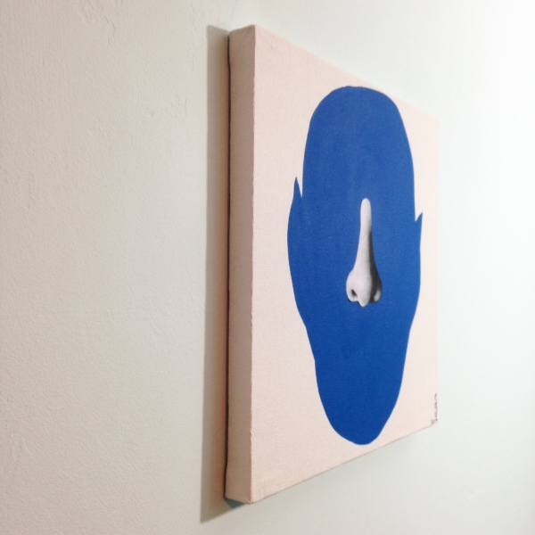 Side-View Me in Blue- Tribute to John Baldessari Linda Cleary 2014 Mixed-Media on Canvas