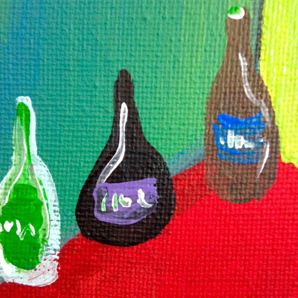 Close-Up 3 Mädchen in Einem Grünen Zimmer- Tribute to Ernst Ludwig Kirchner Acrylic on Canvas