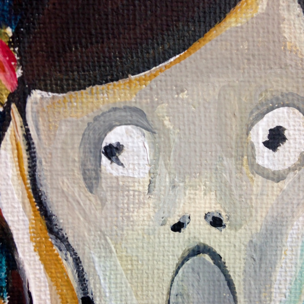 Close-Up 1 Linda Screaming- Tribute to Edvard Munch Linda Cleary 2014 Acrylic on Canvas
