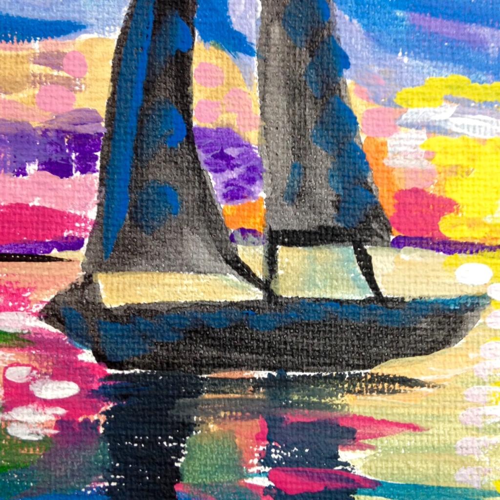 Close-Up 1 Voilier sur l'eau- Tribute to André Derain Linda Cleary 2014 Acrylic on Canvas
