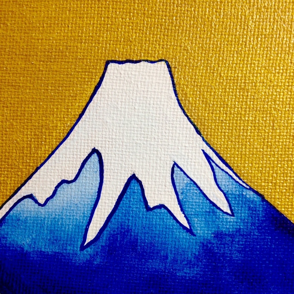 Close-Up 1 View of Mount Fuji- Tribute to Katsushika Hokusai Linda Cleary 2014 Acrylic & Metallic Paint on Canvas