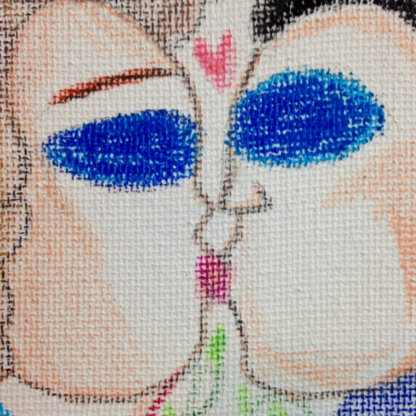 Close-Up 1 Fantasy Land- Tribute to Aloïse Corbaz Linda Cleary 2014 Colored Pencil & Pastel on Canvas