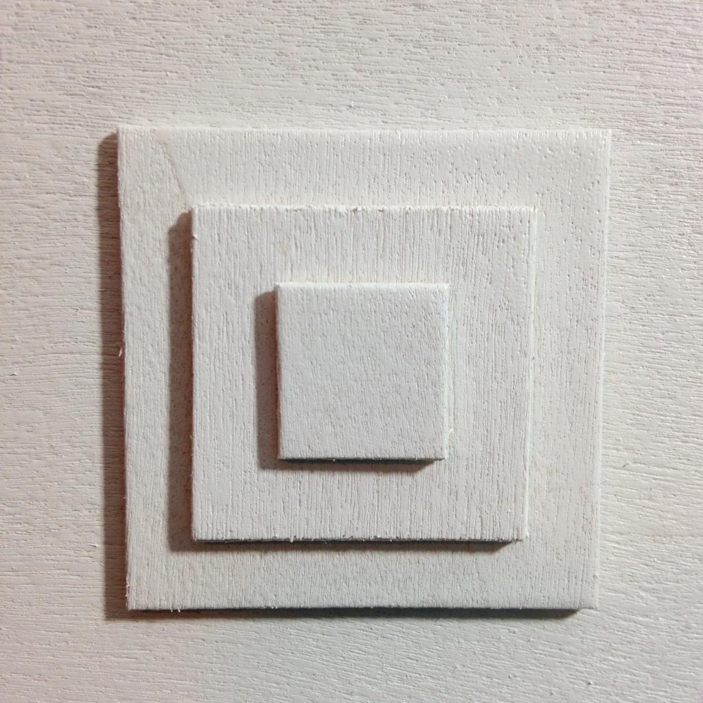 Close-Up 1 Rechthoeken En Vierkanten- Tribute to Ad Dekkers Linda Cleary 2014 Mixed-Media on Wood Panel