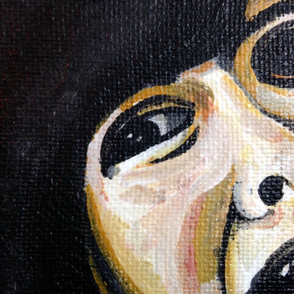 Close-Up 1 Please Don't Kill Me- Tribute to Francisco De Goya Linda Cleary 2014 Acrylic and Crackle Paint on Canvas