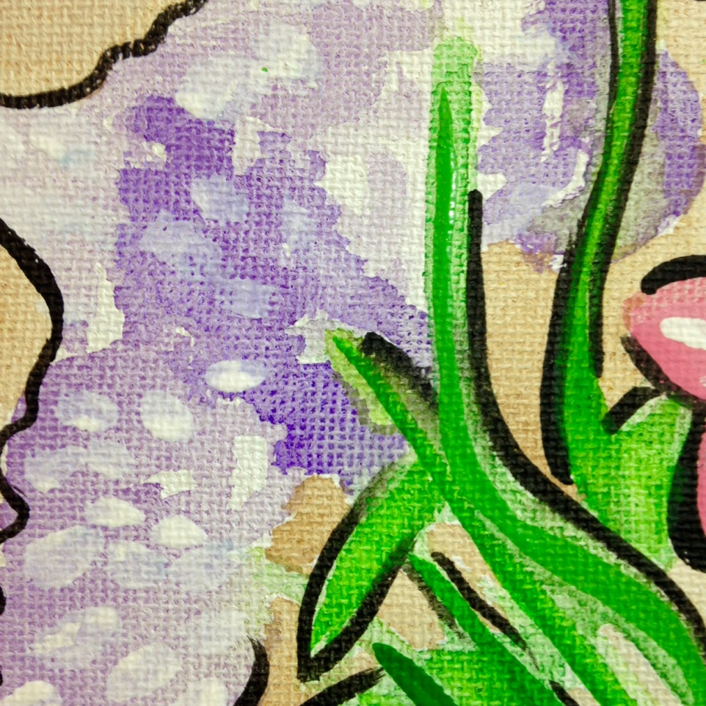 Close-Up 2 Vase of Flowers- Tribute to Raoul Dufy Linda Cleary 2014 Watercolors and Acrylics on Canvas