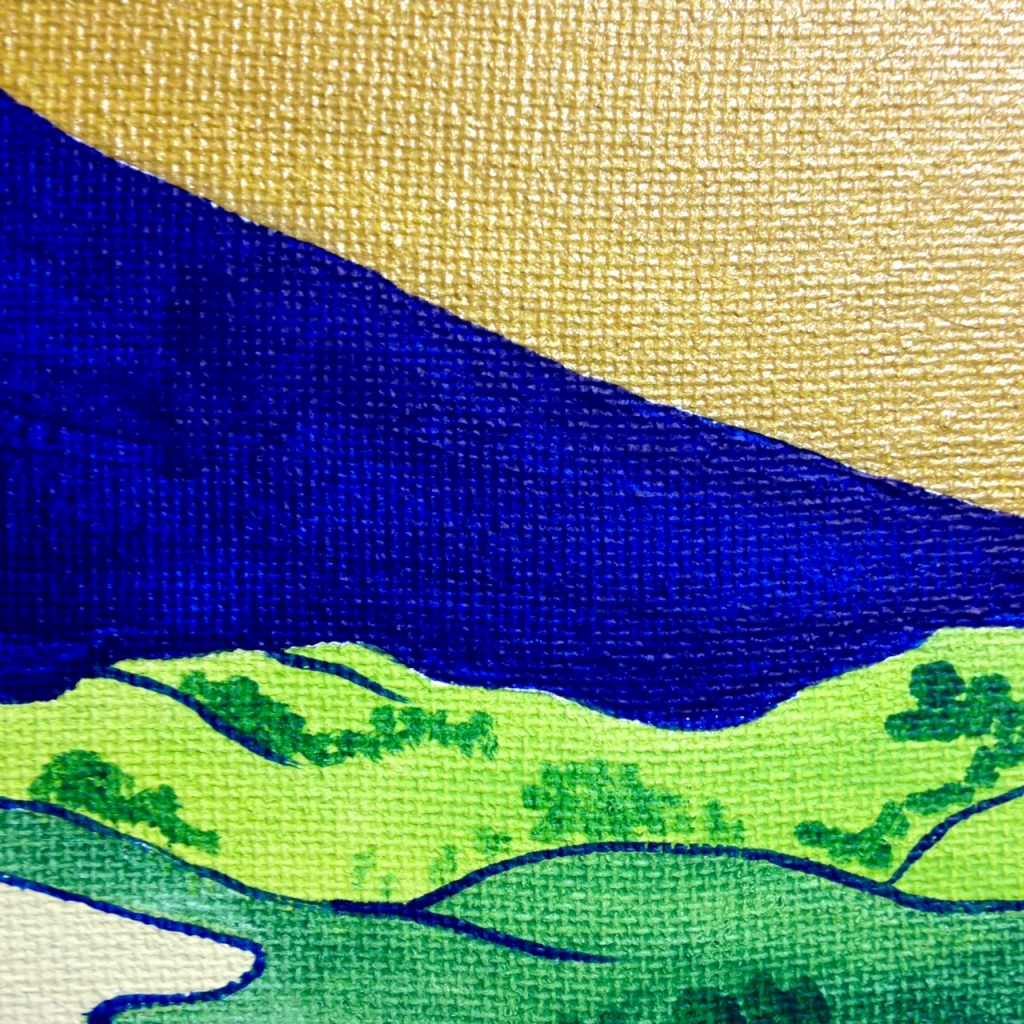 Close-Up 2 View of Mount Fuji- Tribute to Katsushika Hokusai Linda Cleary 2014 Acrylic & Metallic Paint on Canvas