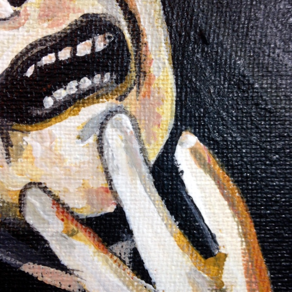 Close-Up 2 Please Don't Kill Me- Tribute to Francisco De Goya Linda Cleary 2014 Acrylic and Crackle Paint on Canvas