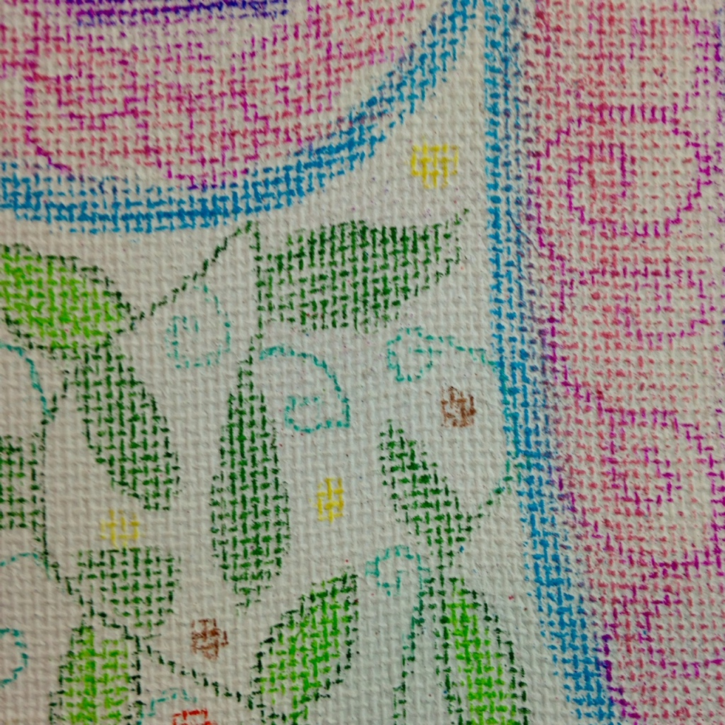 Close-Up 3 Fantasy Land- Tribute to Aloïse Corbaz Linda Cleary 2014 Colored Pencil & Pastel on Canvas