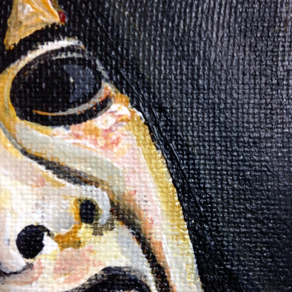Close-Up 3 Please Don't Kill Me- Tribute to Francisco De Goya Linda Cleary 2014 Acrylic and Crackle Paint on Canvas