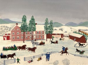 GRANDMA MOSES The Old Checkered House in Cambridge Valley