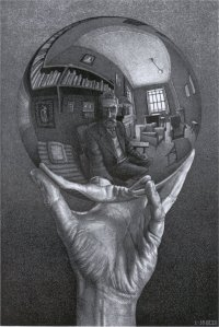 Hand with Reflecting Sphere- M.C. Escher