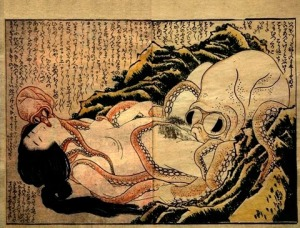 Hokusai 1820. Erotic wood block print