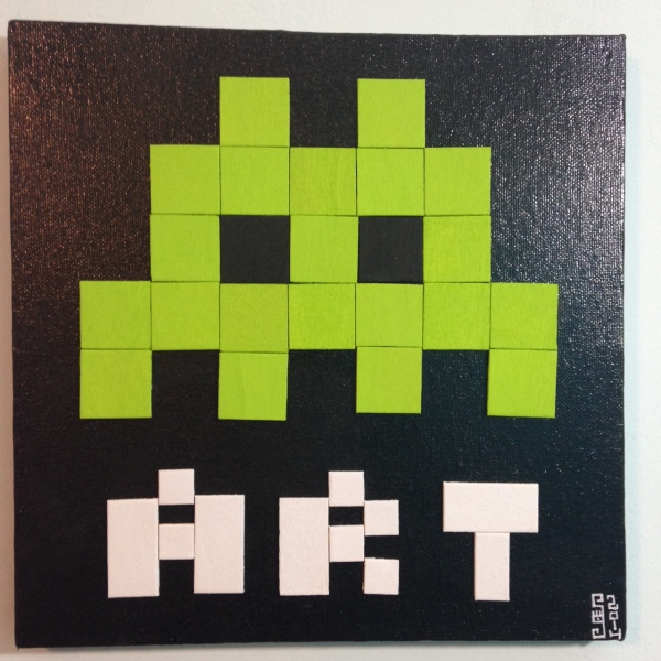 ART- Tribute to Invader Linda Cleary 2014 Mixed-Media on Canvas