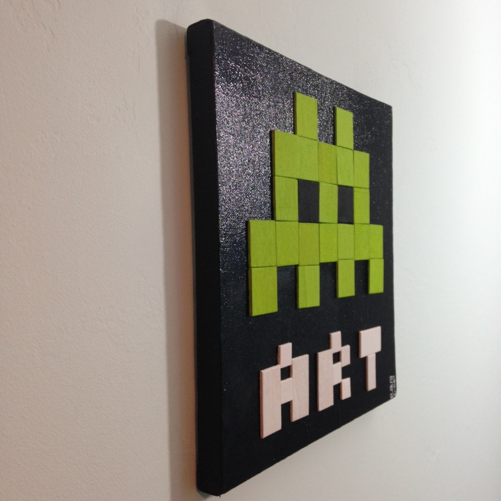 Side-View ART- Tribute to Invader Linda Cleary 2014 Mixed-Media on Canvas