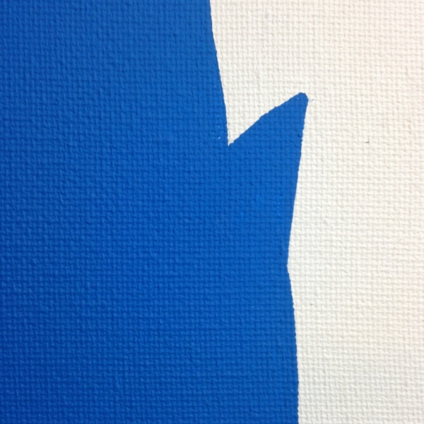 Close-Up 3 Me in Blue- Tribute to John Baldessari Linda Cleary 2014 Mixed-Media on Canvas