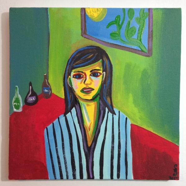 Mädchen in Einem Grünen Zimmer- Tribute to Ernst Ludwig Kirchner Acrylic on Canvas