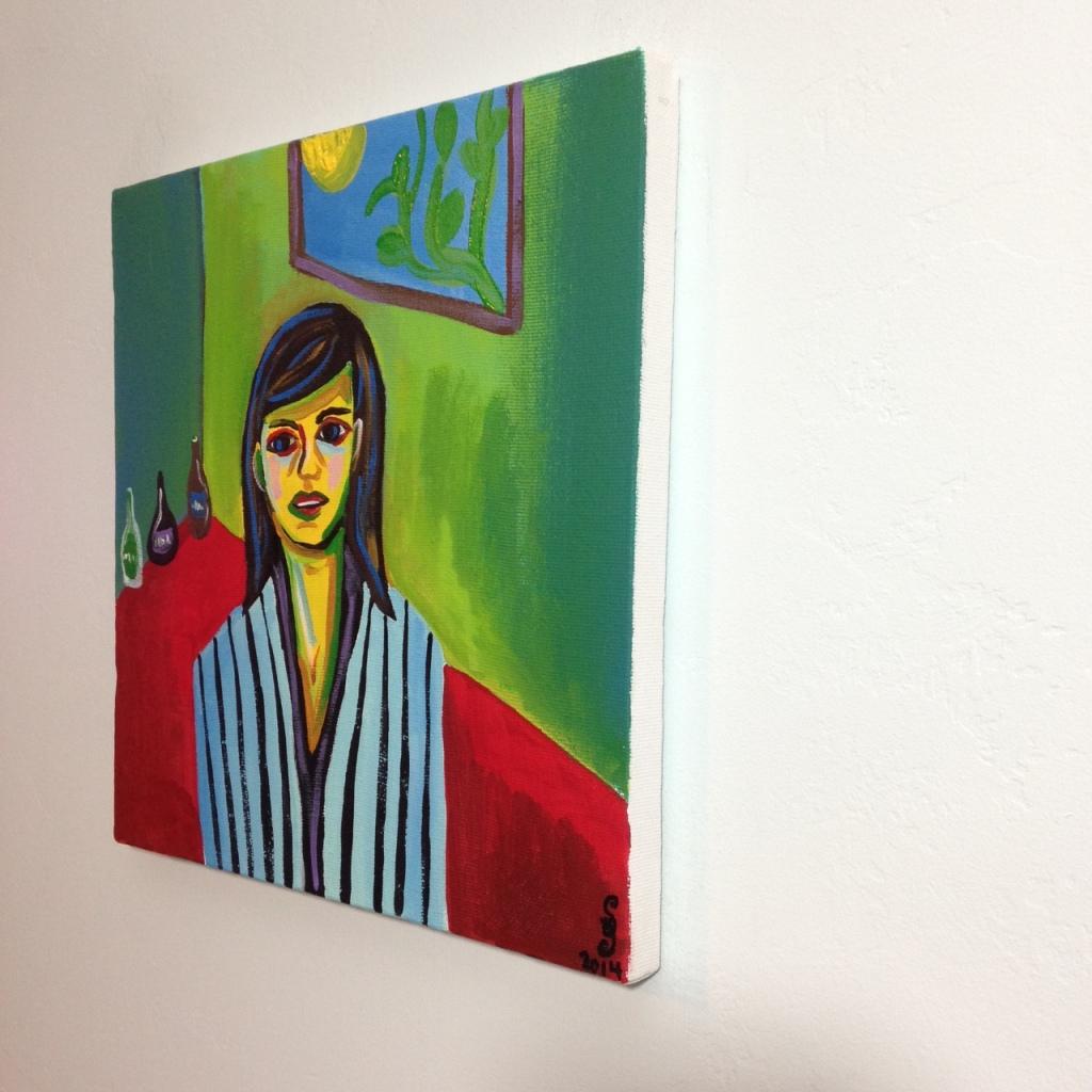 Side-View Mädchen in Einem Grünen Zimmer- Tribute to Ernst Ludwig Kirchner Acrylic on Canvas